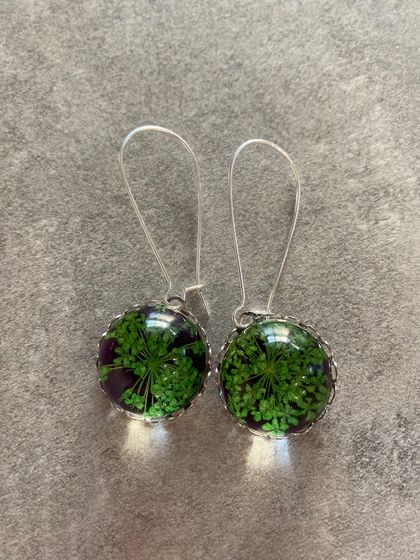 Floral glass dome earrings