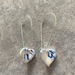 Blue and white heart earrings