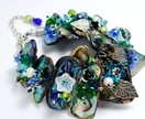 Embellished Paua Bracelet Blues/Greens