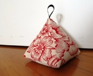 Pyramid Doorstop -  Red Floral on Linen
