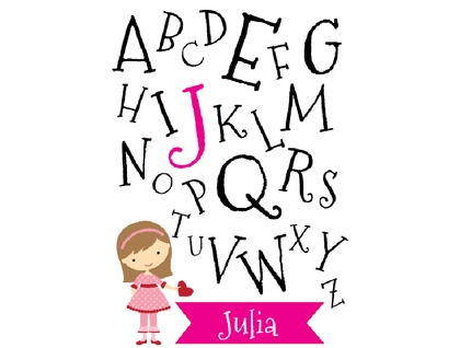 Personalised A-Z kids art print - for girls