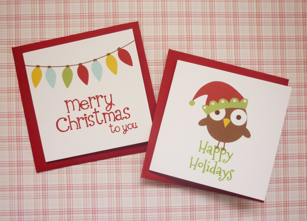 Red Mini Christmas Cards set - set of 4 | Felt