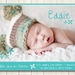 Teal floral printable birth announcement - with photo