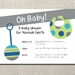 Blue, green and grey baby shower printable invite