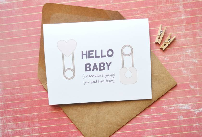 Hello Baby congratulations new baby modern Greeting Card