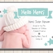 Hello Henri printable birth announcement - with photo