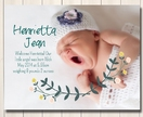 Henrietta Jean Floral style printable birth announcement - with photo