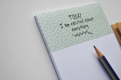 Today I am excited about everything mint + dots large Notepad