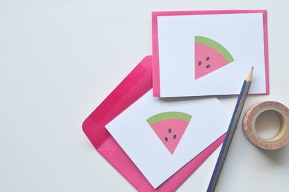 Watermelon flat notecards with matching pink envelopes - set of 10