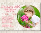Pink and pretty garden party birthday party invite - with photo