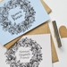 Wreath flat card custom stationery set, baby thank you cards - 25 x flat notecards + 25 x envelopes