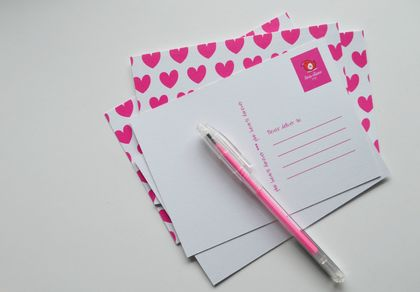 Hot pink heart Postcards - great for gifts, postcard fans and pink lovers!