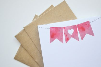 Sweet pink watercolour heart bunting Notepad