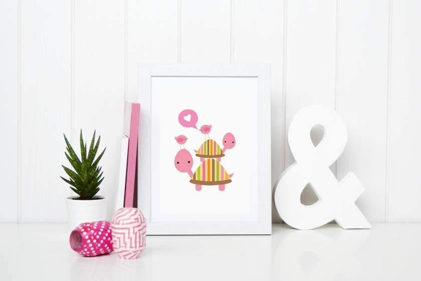Pink turtle stack poster