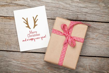 Reindeer ears Merry Christmas Greeting Card