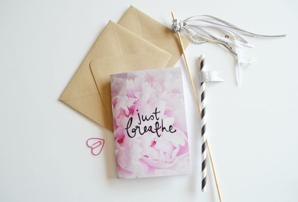 Just Breathe hand lettered floral notebook - with 60 blank pages inside
