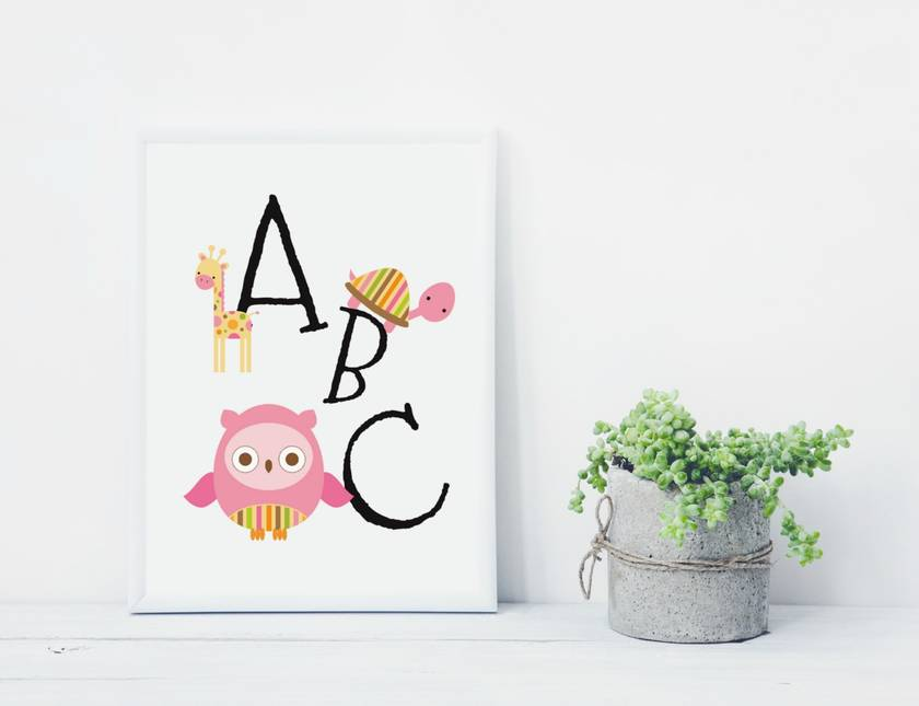 Pink ABC Animal Nursery Art Print