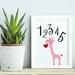 Pink Giraffe 12345 Print