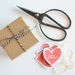 Handcut Merry Christmas heart gift tags with twine - set of 8