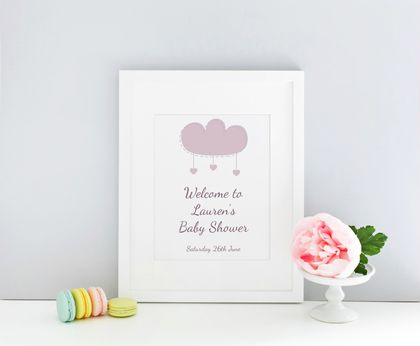 Sweet lilac cloud Welcome Baby Shower Sign