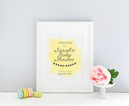 Lemon watercolour Welcome Baby Shower Sign