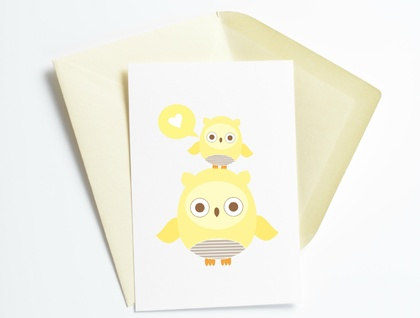 Owl Love Yellow Sweet Greeting Card