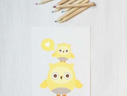 Owl Love Yellow Sweet Greeting Card