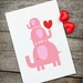Elephant Stack Pink Greeting Card - baby shower, new baby, birthday, little one