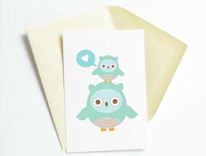 Owl Love Blue Sweet Greeting Card
