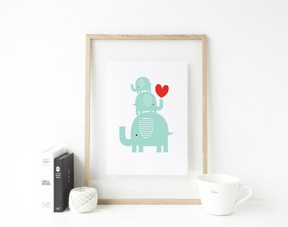 Blue Elephant Stack Art Print Great For Gifts Nursery Decor Or Kids Rooms Felt