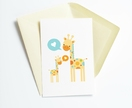 Giraffe stack Greeting Card - new baby, birthday or any sweet occasion