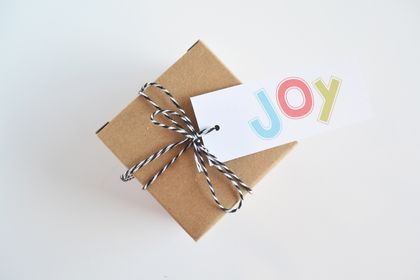 Joy Christmas gift tags with twine - set of 8