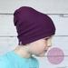 Merino Slouch Beanie (Aubergine Purple)
