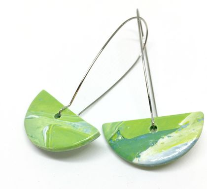Ocean Green Artistic Clay Earrings