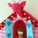 Large felt cuckoo clock with miniature deerhead