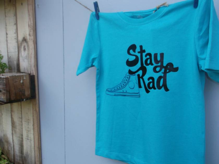 Stay Rad -- Size 3 t-shirt -- Turquoise -- for boys or girls