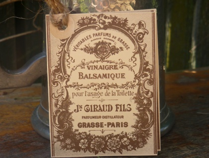 ANTIQUE FRENCH PERFUME LABEL GIFT TAG