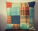 PATCHWORK BLOKE'S BLANKET CUSHION COVER