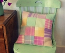 BEAUTIFUL PASTEL COLOURED CUSHION COVER. RECYCLED PATCHWORK WOOLLEN BLANKETS