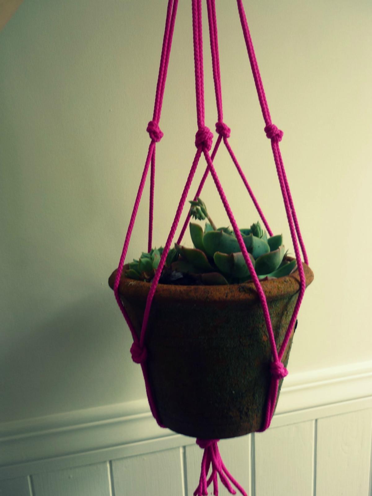 Neon String Macrame Plant Pot Holder Felt