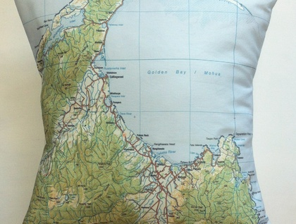 NZ Map Cushion Cover - Golden Bay