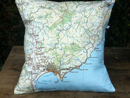 NZ Map Cushion Cover - Gisborne