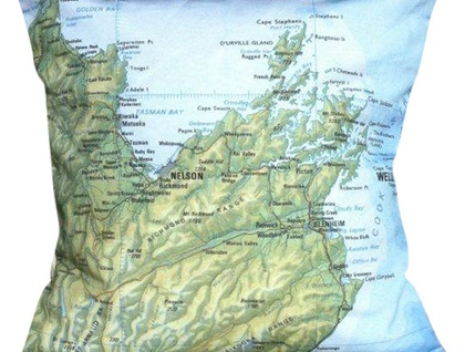 NZ Map Cushion Cover - Vintage Top of the South