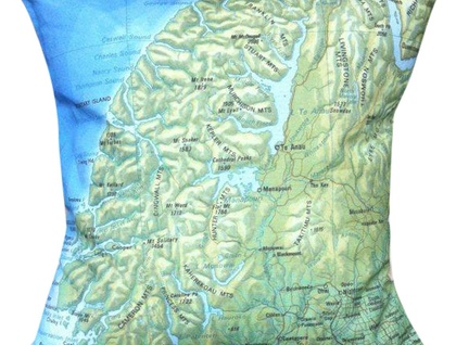 NZ Map Cushion Cover - Vintage Fjordland