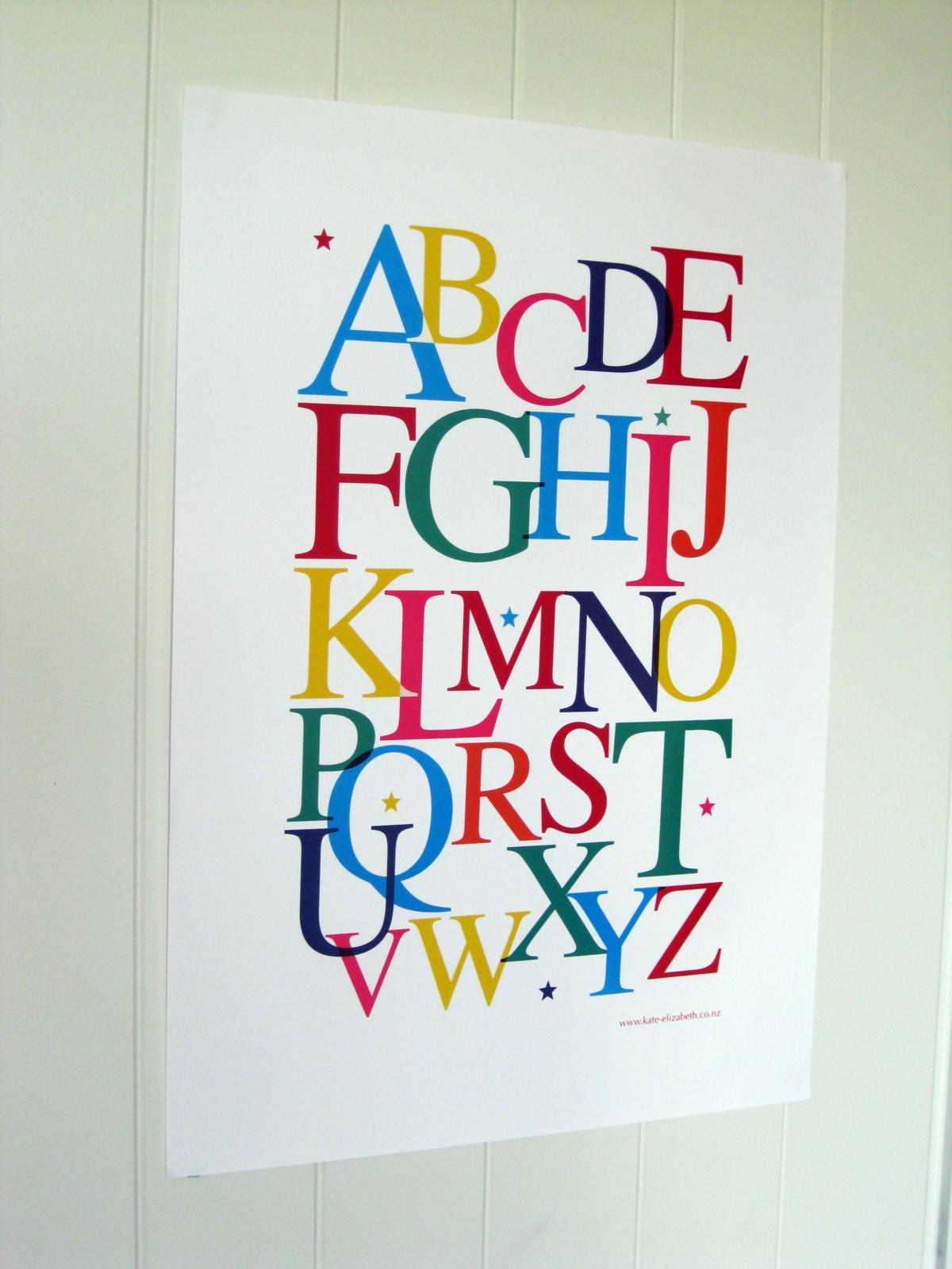 Large Abc Letters White Black: ABC Poster - Large A2 Size, Laminated.