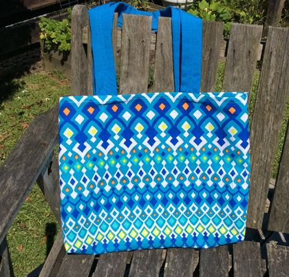 **Shades Of Blue**Cotton Fabric Bag**No More Plastic**