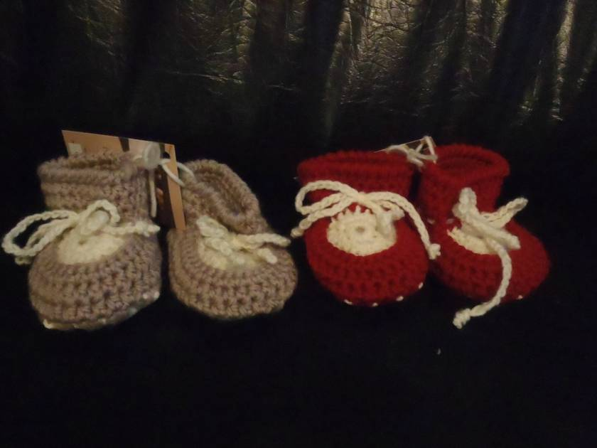 Crocheted Sheepskin  Baby Booties