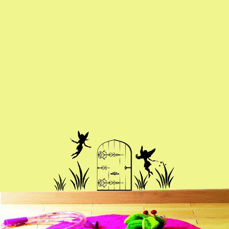 Fairy door vinyl wall decal kids room girls baby nursery for Fairy door for wall