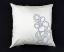 Original Moki Cushion in Ivory with Silver-Grey Organic Circle print