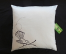 Original Moki Cushion in Ivory with Chocolate Flighty Fantail print